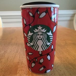 Starbucks Christmas Coffee Tumbler Ceramic w/Lid